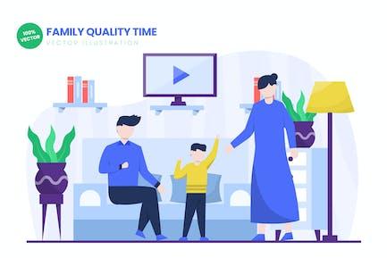 Family Quality Time Flat Vektor Illustration