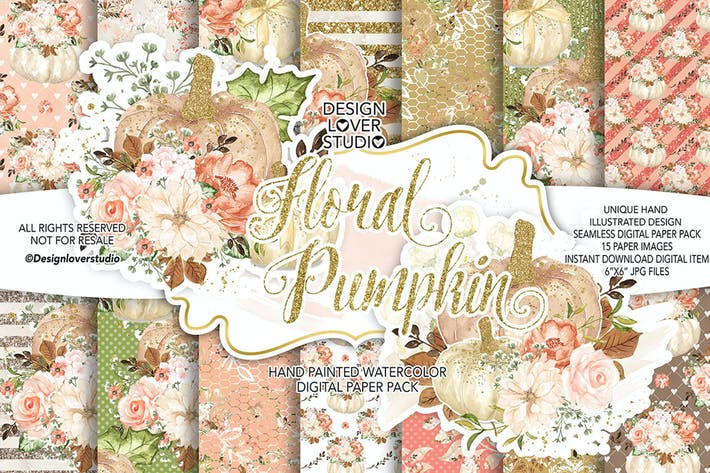 Thumbnail for Floral Pumpkin digital paper pack