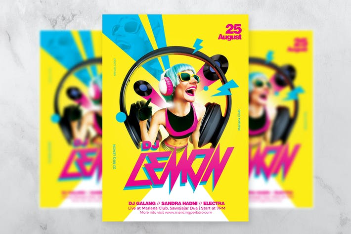 Thumbnail for DJ Lemon Electro Flyer Template