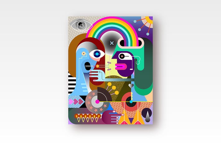 Thumbnail for Two people under a rainbow vector illustration