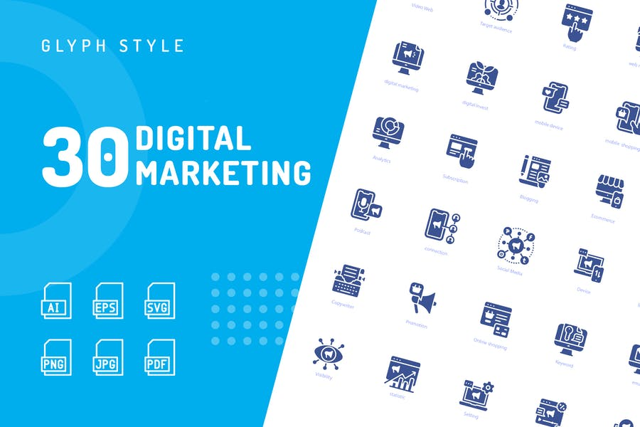 Digitale Marketing-Glyphe-SyIcons