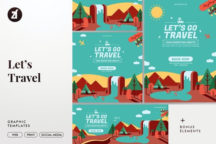 Thumbnail for Let's Travel Graphic Templates