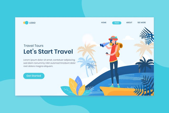 Thumbnail for Travel landing page flat design