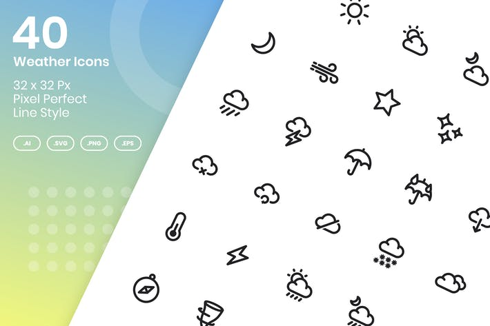 Thumbnail for 40 Weather Icons Set - Line