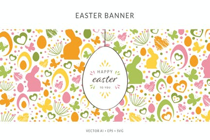 Easter Banner with different Easter Elements