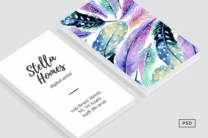 Thumbnail for Wild Feathers Business Card Template