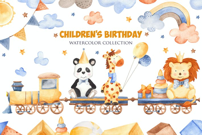 Thumbnail for Watercolor Children's Birthday. Clipart, cards ...