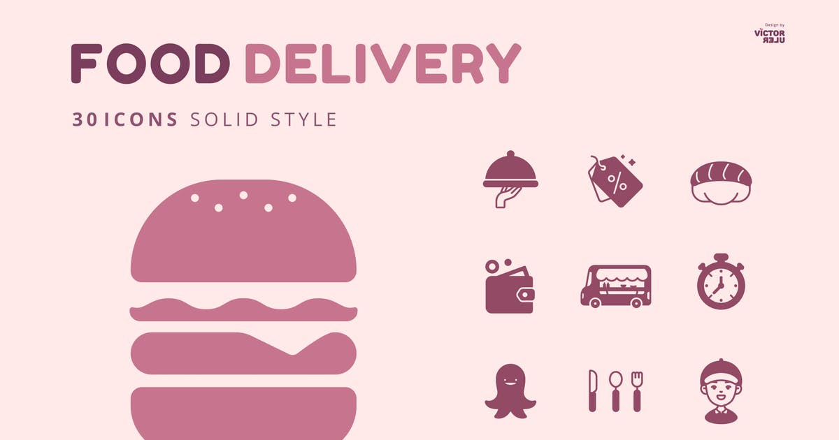 Download 30 Icons Food Delivery Solid Style by Victoruler