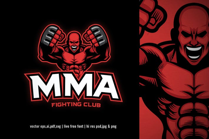 mma muscle fighter logo