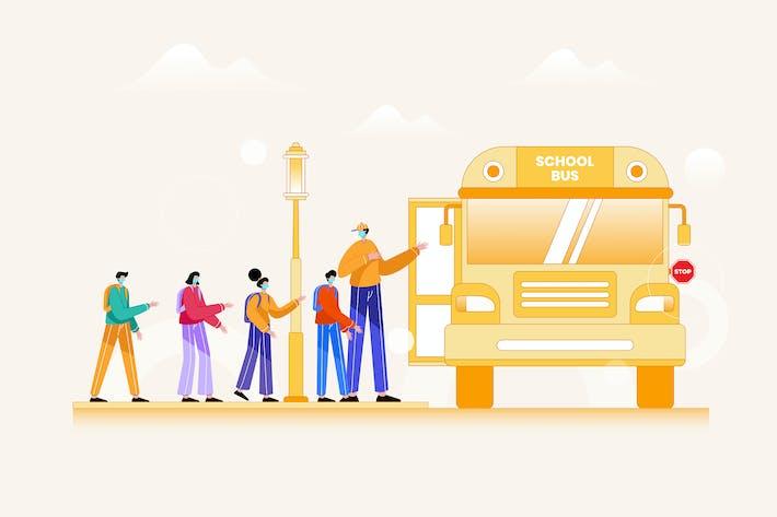 Thumbnail for Enfants à bord d'un bus scolaire avec masque de protection