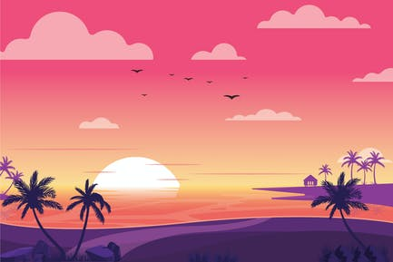 Dusk Beach - Landscape Illustration