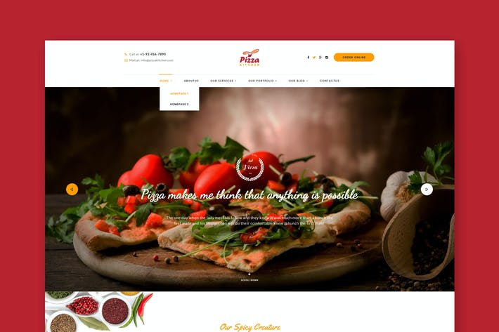 Thumbnail for Pizza Kitchen - Pizza & Fast Food PSD Template