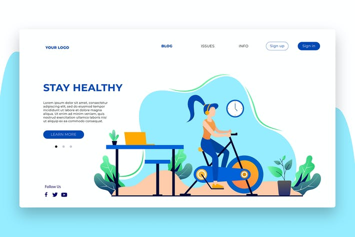 Thumbnail for Stay Healty - Banner & Landing Page