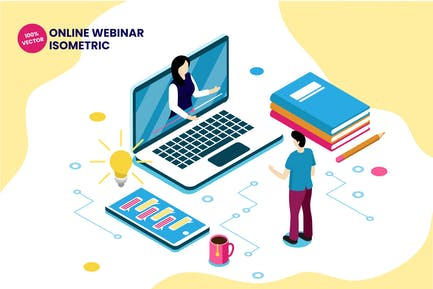 Isometric Online Webinar Vector Illustration