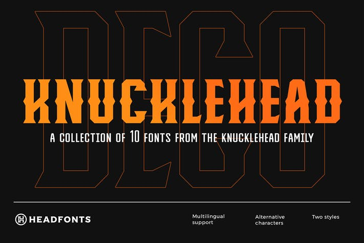 Thumbnail for Knucklehead Deco | Vintage Font