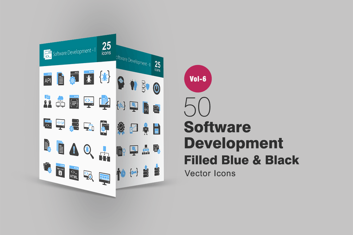 Thumbnail for 50 Software Development Blue & Black Icons