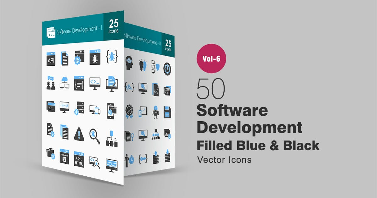 Download 50 Software Development Blue & Black Icons by Unknow