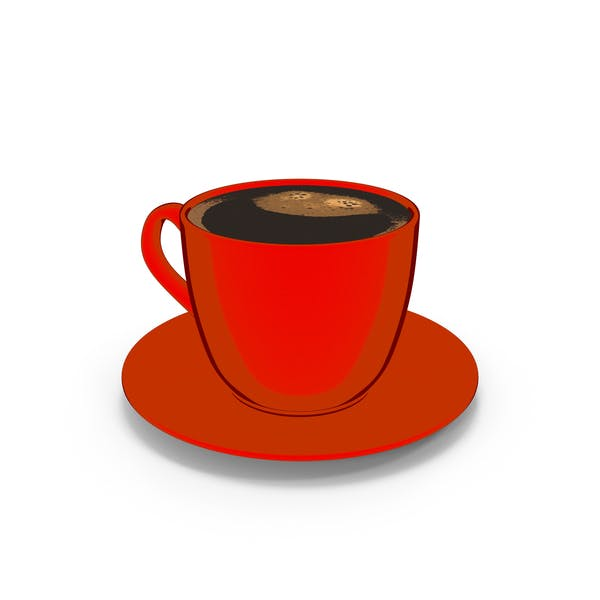 Coffee Cup Small with Plate Red Cartoon