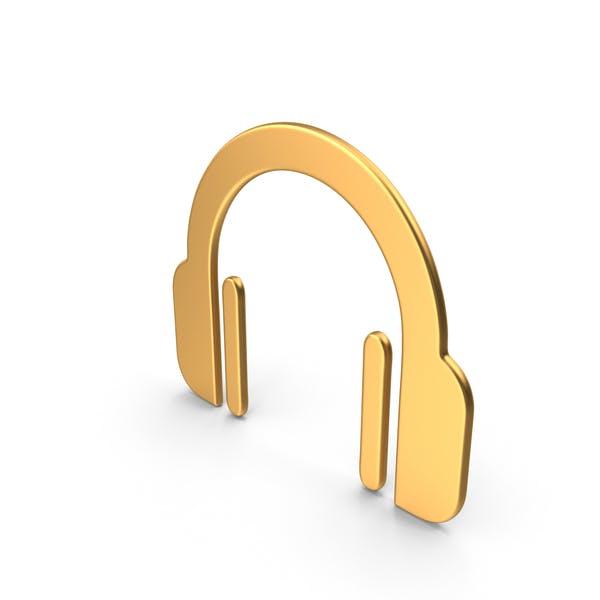 Kopfhörer Symbol Gold