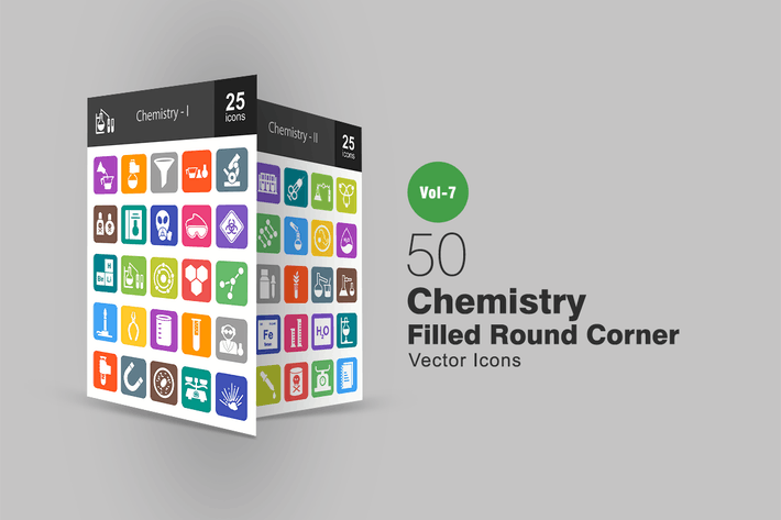 Thumbnail for 50 Chemistry Filled Round Corner Icons