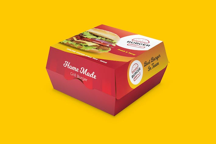 Thumbnail for Burger Box Container Carton Design With Dieline