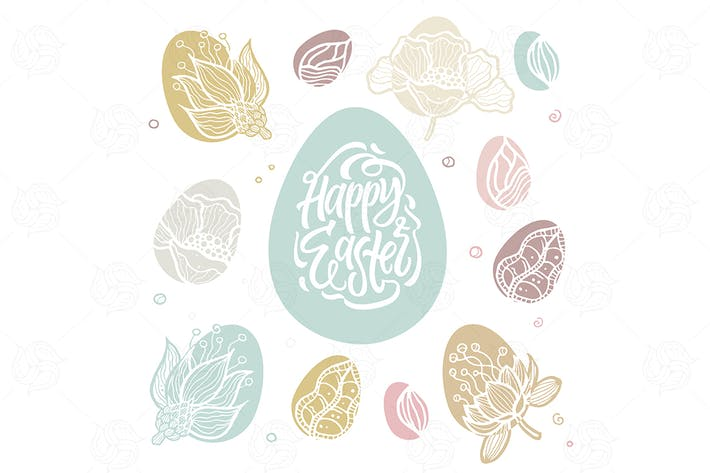 Thumbnail for Happy Easter - vector poster with calligraphy text