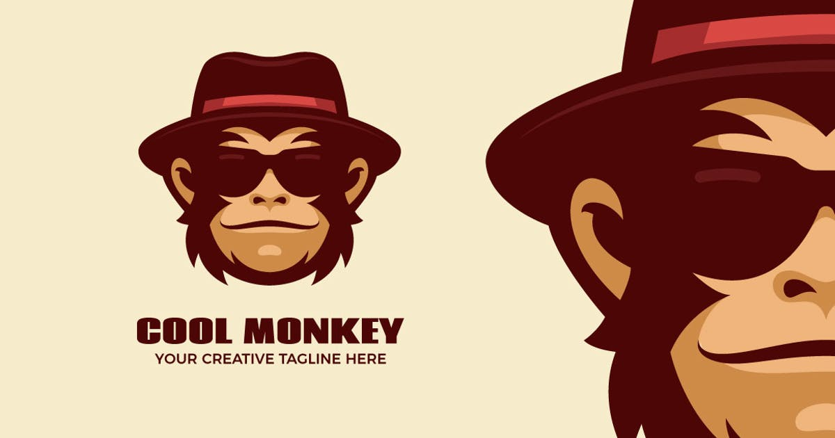 Download Cool Monkey Cartoon Mascot Logo Template by MightyFire_STD