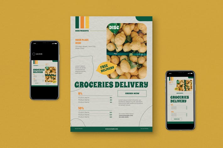 Thumbnail for Groceries Delivery Flyer Pack
