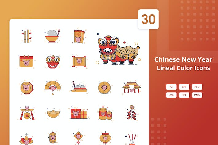 Thumbnail for Chinesisches Neujahr - Lineal Color Icons