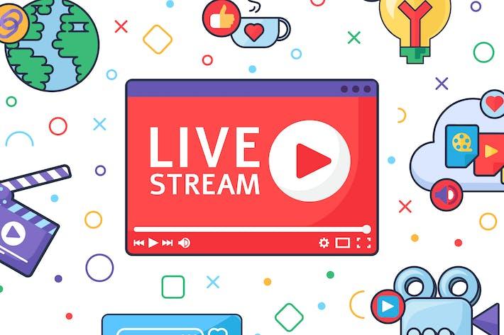 Live Stream Producing Tools Illustration