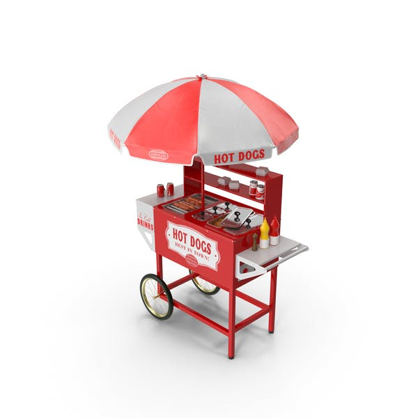 Hot Dog Cart with Dishes