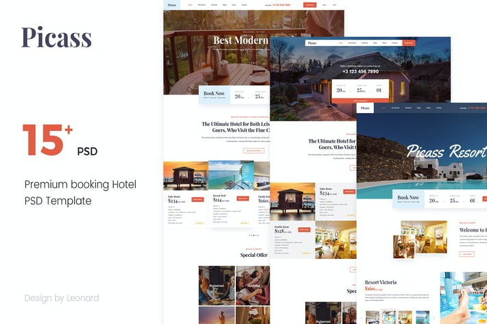 Thumbnail for Picass   Hotel PSD Templates