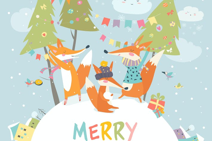 Thumbnail for Funny foxes friends celebrating Christmas. Vector