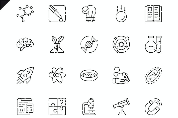 Thumbnail for Simple Set Science Line Icons