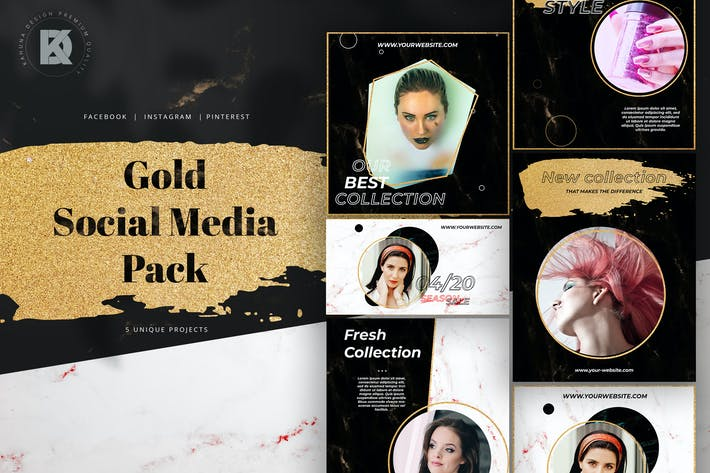 Thumbnail for Gold & Glamour Social Media Pack