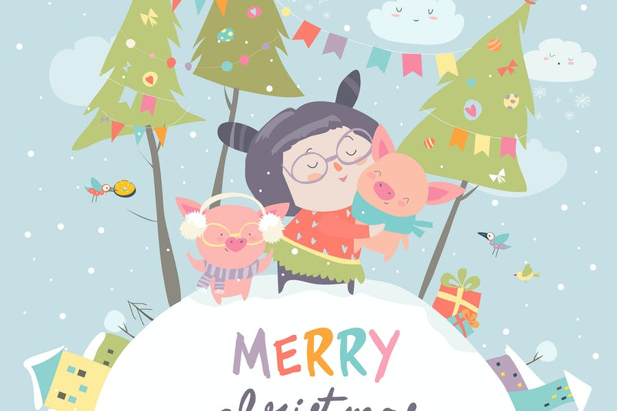 Cartoon little girl with funny pigs. Christmas