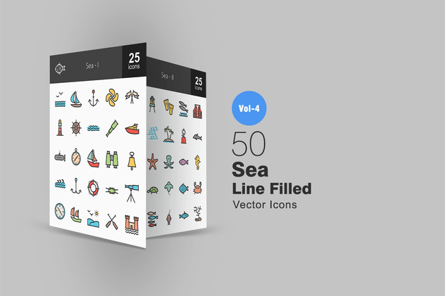 50 Sea Line Filled Icons