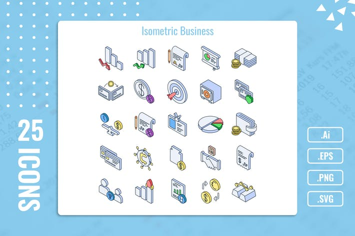 Thumbnail for 25 Iconset Isometric Business