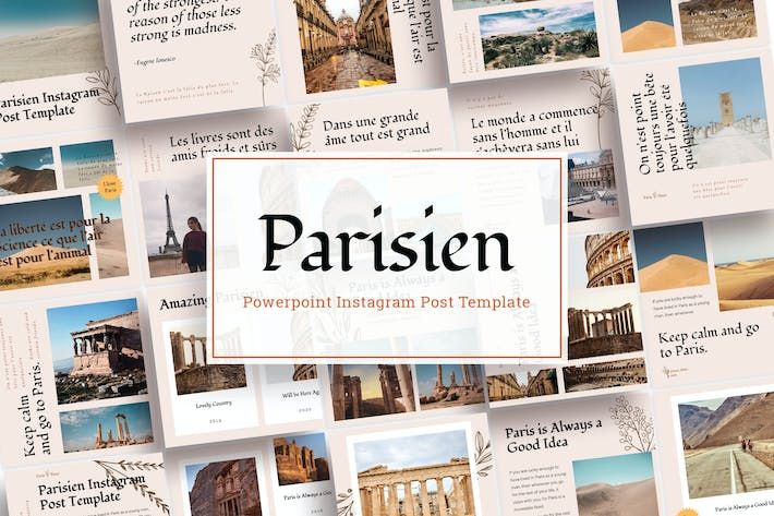 Thumbnail for Parisien - Instagram Сообщение Шаблон Power Point