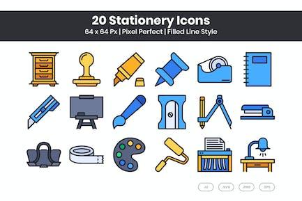Conjunto de 20 Íconos de papelería - Línea llena