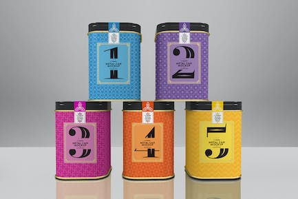 Square Tin Cans Packaging Mock Up Vol.2