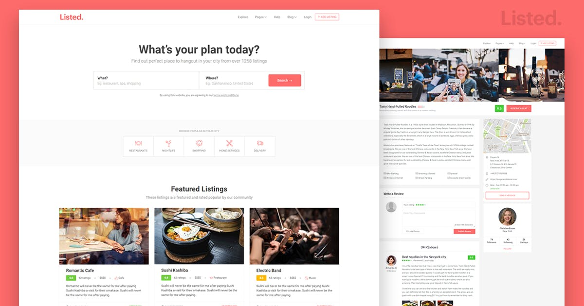 Download Directory & Listing HTML Website Template - Listed by surjithctly