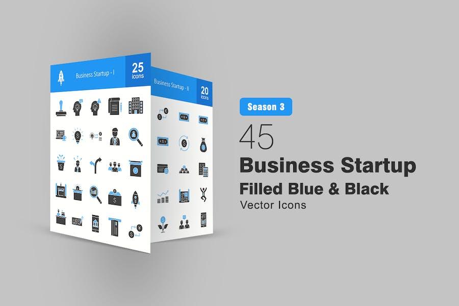 45 Business Startup füllte blaue und schwarze Icons
