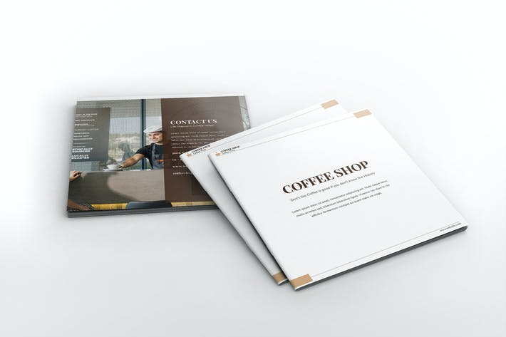 Thumbnail for Coffee Shop Square Brochure Template