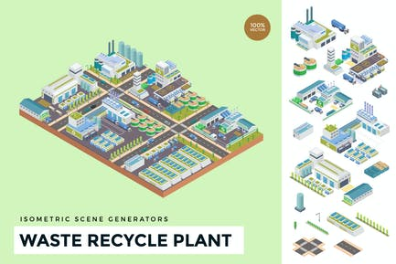 Isometric Waste Recycle Plant Vector Scene Creator