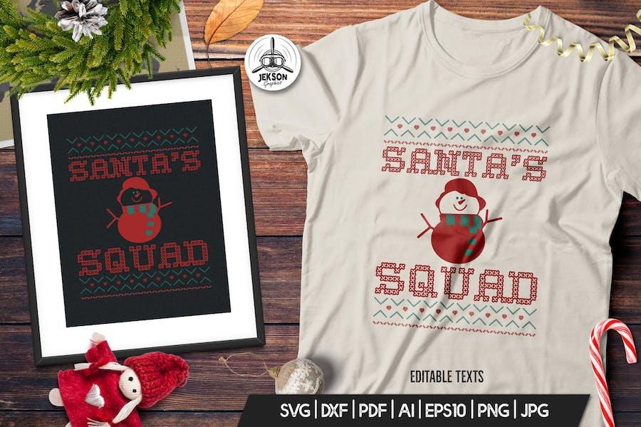 Christmas Santa Squad Sweater T-Shirt. Xmas Design