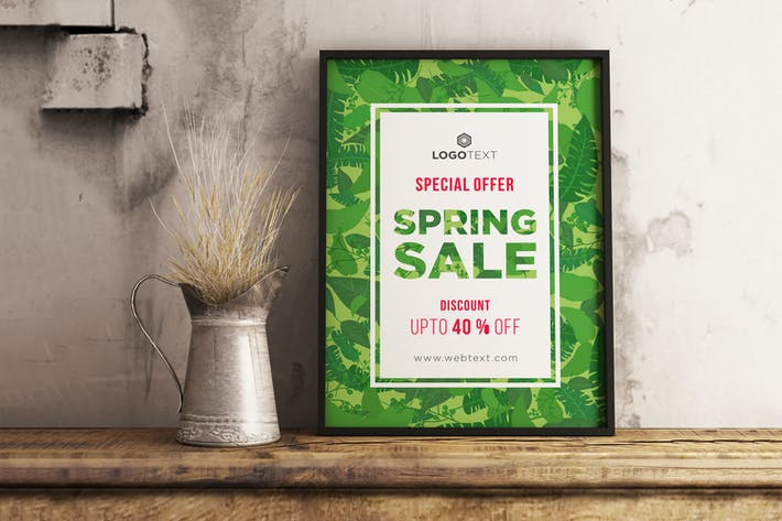 Leafy Green Spring Poster with White Frame