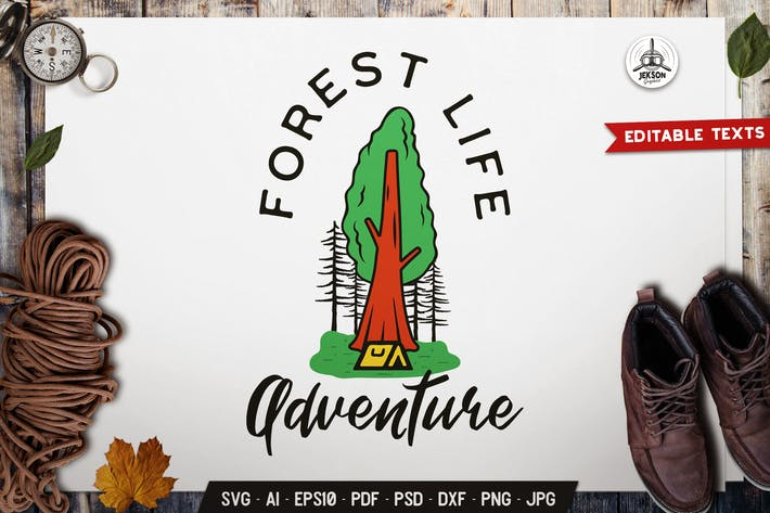 Thumbnail for Forest Life Emblem Adventure Label Retro Design