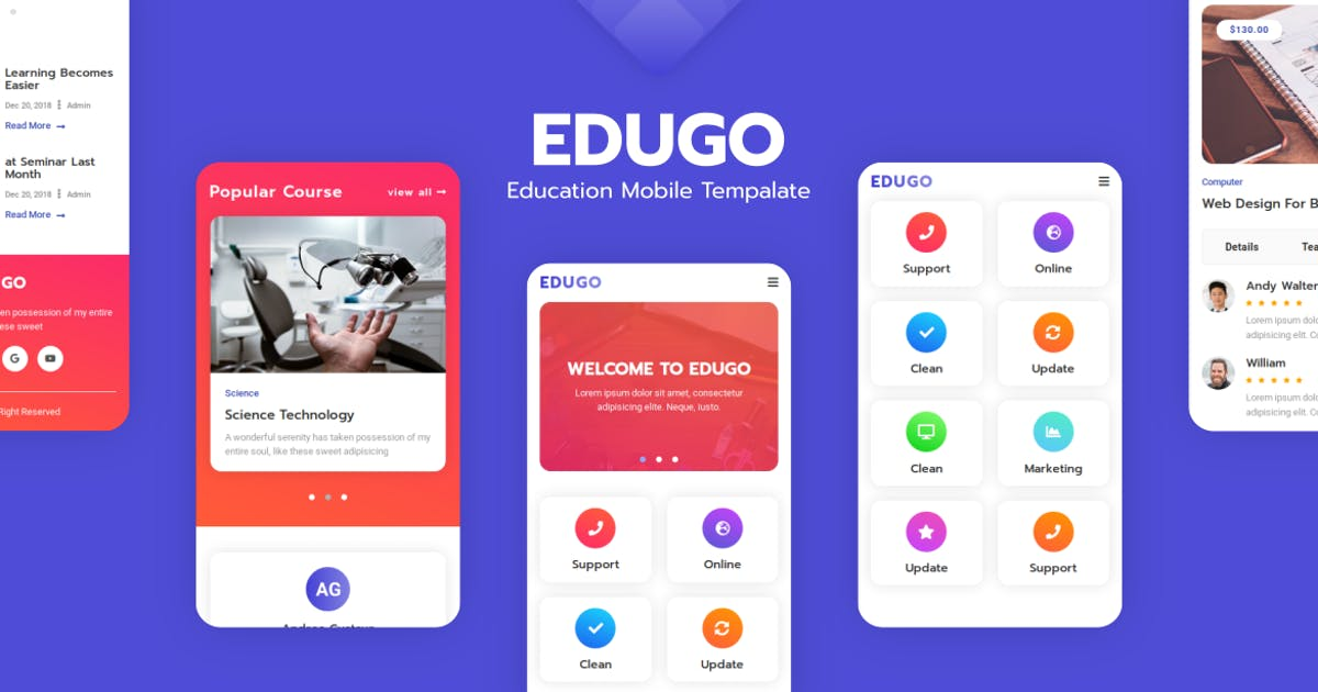 Download Edugo - Education Mobile Template by aStylers