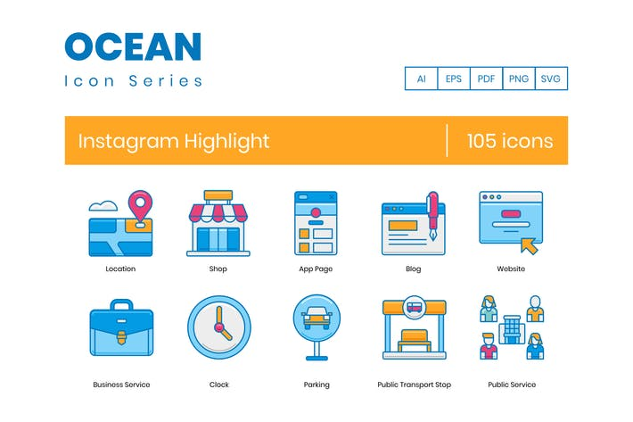 Thumbnail for 105 Instagram Highlight Icons | Ocean Series